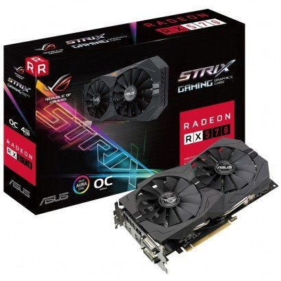PLACA DE VIDEO ASUS RADEON RX 570 4GB ROG STRIX DDR5 256BITS - ROG-STRIX-RX570-O4G-GAMING