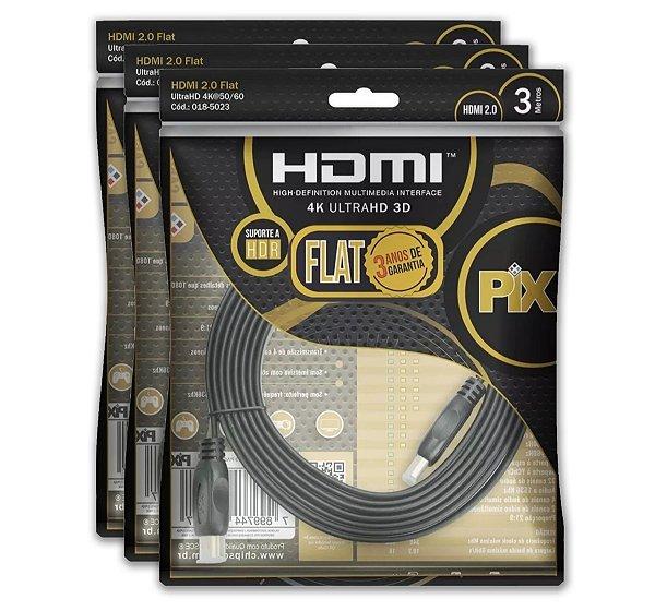 CABO HDMI 3M FLAT GOLD - 2.0 4K HDR 19P 018-5023 PIX