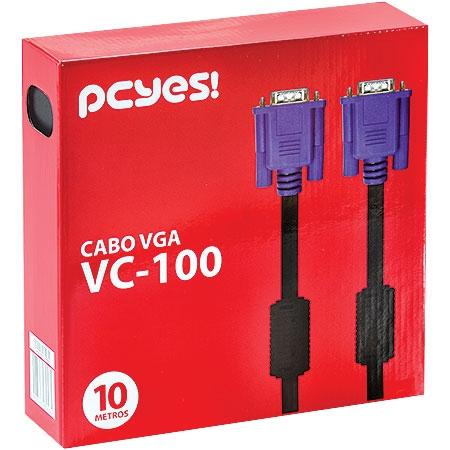 CABO VGA 10M HD15M X HD15M VC-100 PRETO PCYES