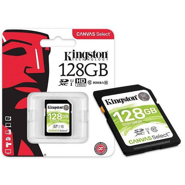 CARTÃO DE MEMORIA CLASSE 10 SDS/128GB 128GB CANVAS SELECT KINGSTON