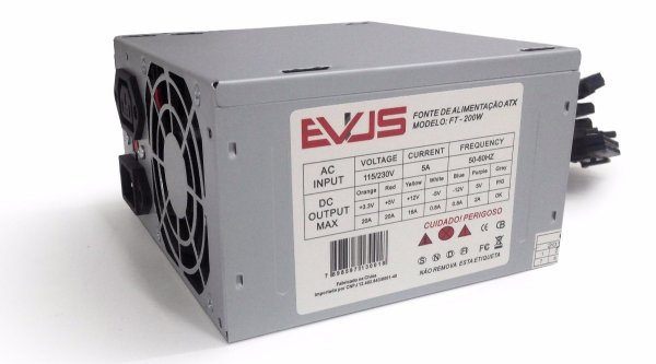 FONTE ATX 200W REAL 20/24 PINOS FT-200W 2*SATA 2* IDE S/CABO EVUS
