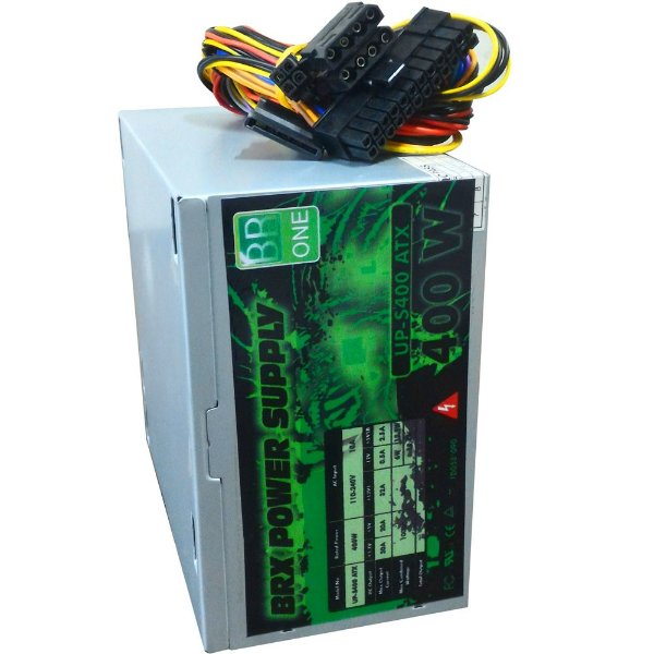 FONTE ATX 400W REAL 20/24 PINOS UP-S400 2*SATA 2* IDE BR-ONE