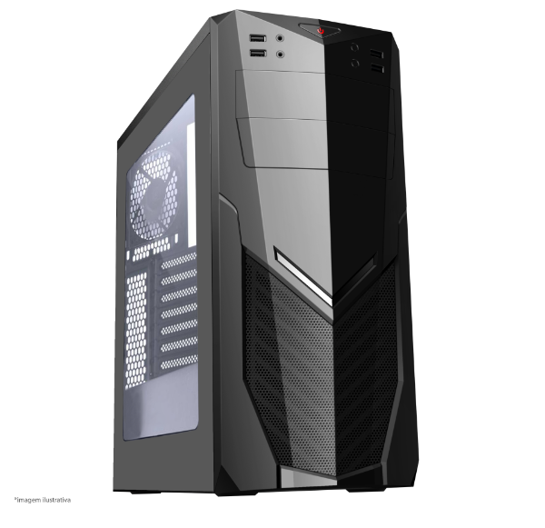 GABINETE 1 BAIA 7025BB GAMER SEM FONTE USB 3.0 FRONTAL COM ACRILICO BRAZIL PC