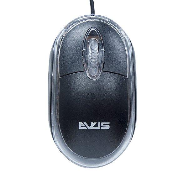 MOUSE USB MO-01 800DPI OPTICO PRETO EVUS