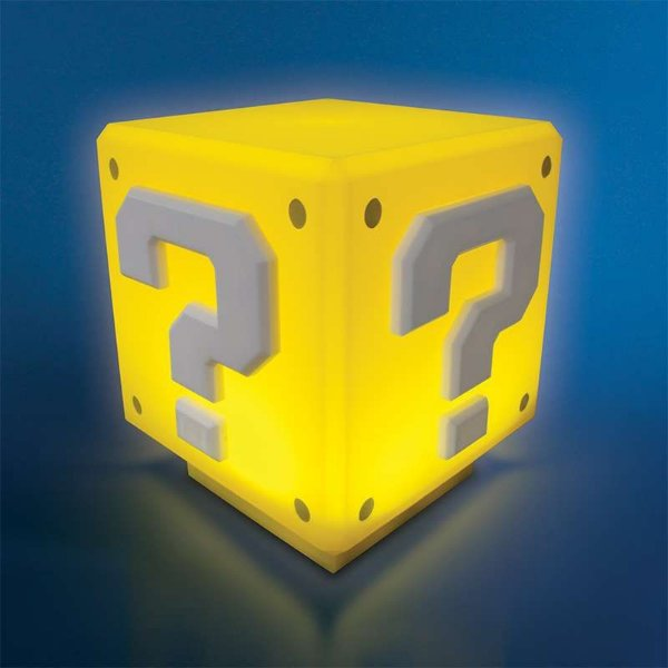 Action Figure Luminaria Nintendo Super Mario Bros - Mini Question Block Com Som