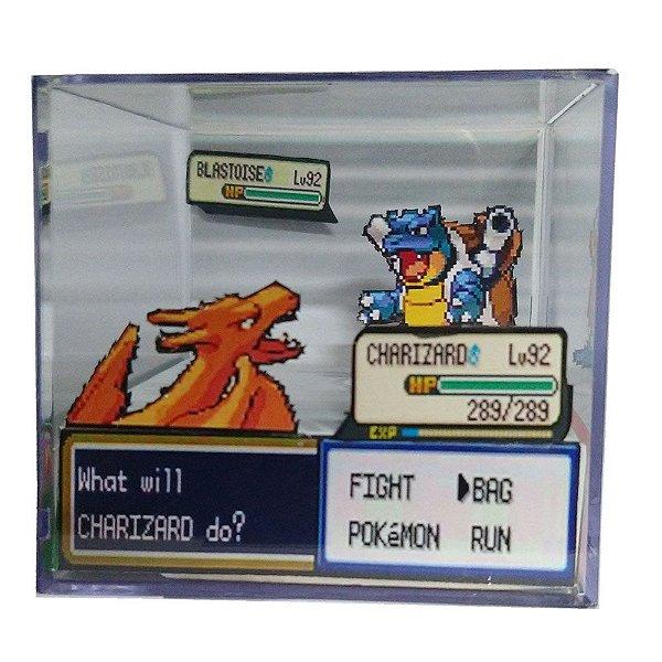 Diorama Cubo Pokemon (Fight) Charizard x Blastoise