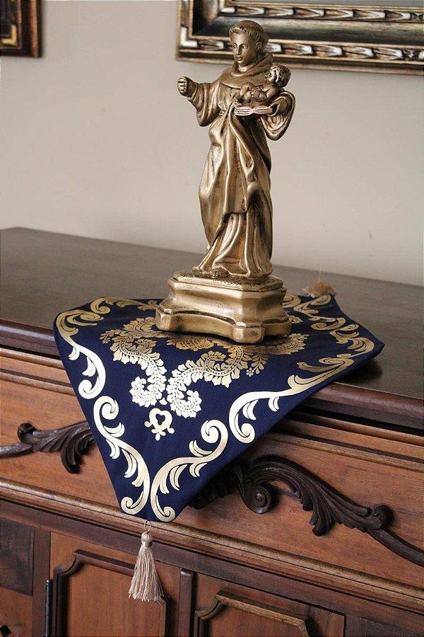 Toalha Aparador para Imagem Azul e Dourado e Azul e Prata
