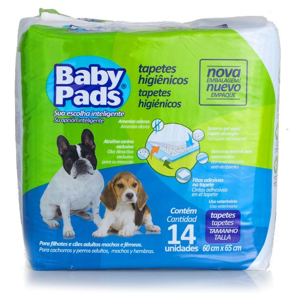 Tapete Higiênico Baby Pads com 14 unidades