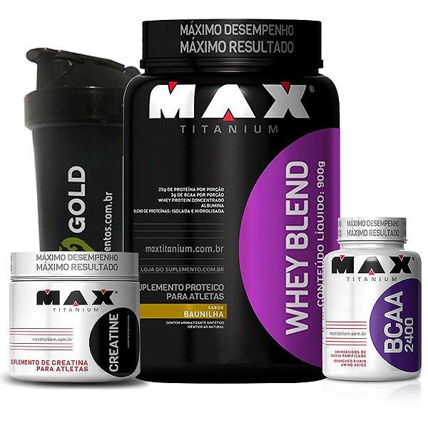 2249fabaa Kit Whey Blend 900g Max Titanium - Vitta Gold Suplementos