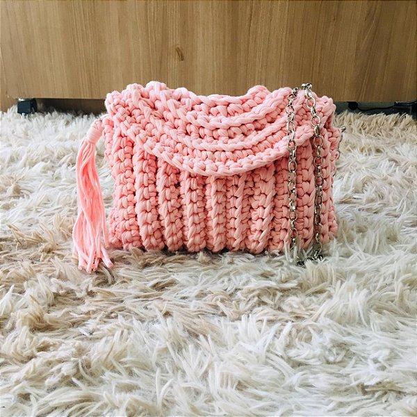 Bolsa Crochê tipo Carteira Anini Rosa