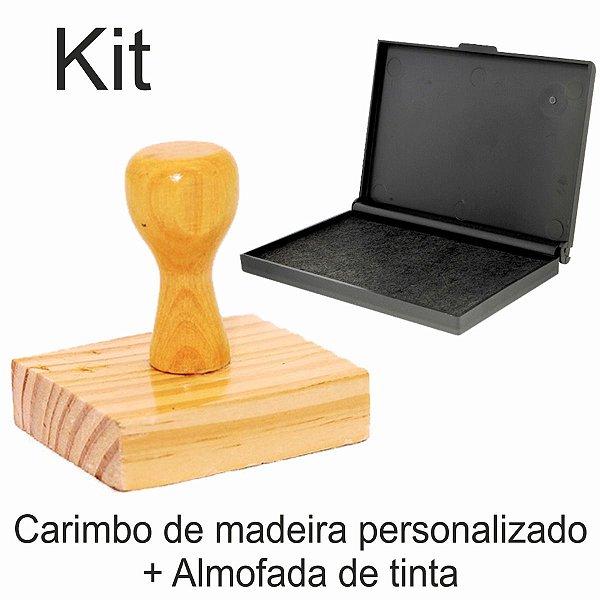 KIT ALMOFADA COR PRETA - Nº4  - 83 x 135mm + CARIMBO DE MADEIRA PERSONALIZADO - 8X10 CM