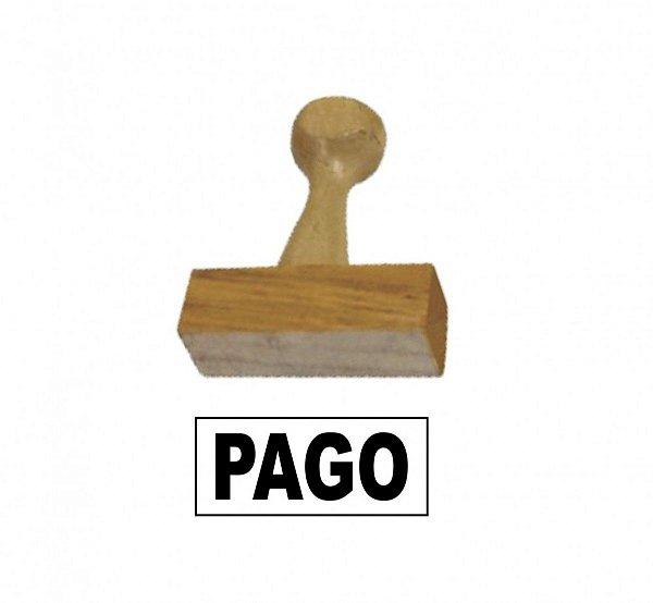 CARIMBO DE MADEIRA - PAGO - 14X38 MM