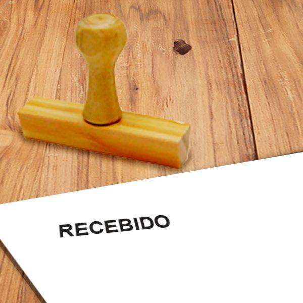 CARIMBO DE MADEIRA - RECEBIDO - 14X38MM