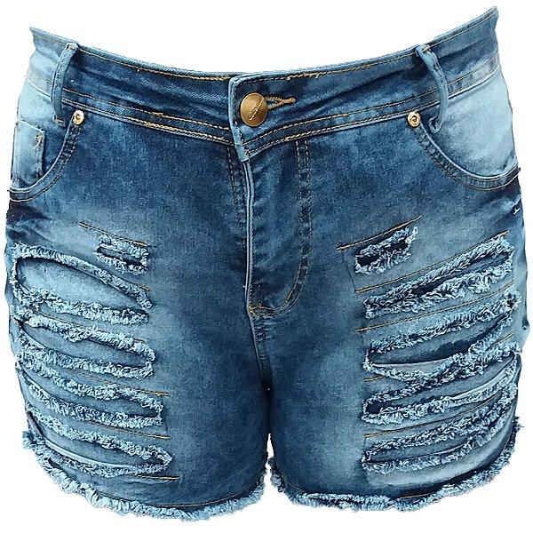 b6751aad1 Short Jeans Feminino Azul Manchado Rasgado Plus Size Hot Pants ...