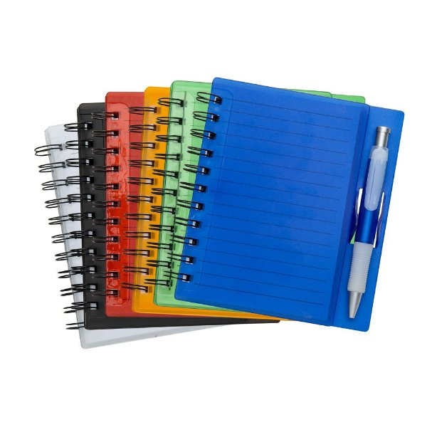 Bloco de anotações em acrílico com caneta