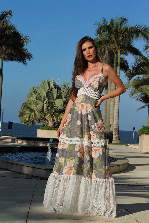 b8277c10d vestido longo estampado com renda - Leona Closet - Loja Virtual da ...