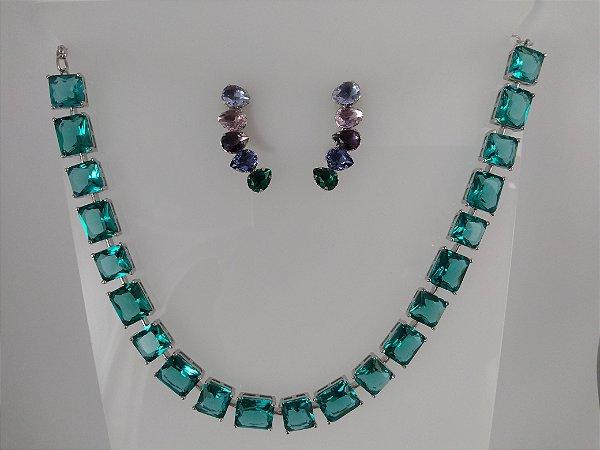 Conjunto Colar Em Ródio Branco de Pedras Fusion Azul Turmalina e Brinco de  Pedras Fusion Coloridas 6966692e01