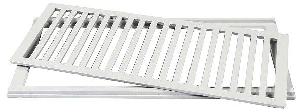 Grelha com Porta Grelha em Alumínio cor Branca 20x50cm LGMAIS