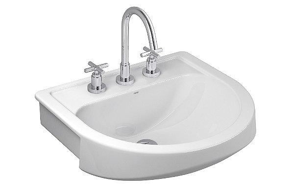 Lavatório Semi Encaixe para Banheiro Carrara L-62 GE17 Branco Deca