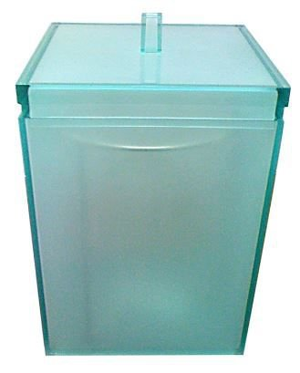 Lixeira Quadrada Cristal Esverdeado Liso Cubalux