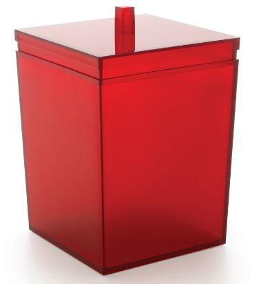 Lixeira Quadrada Vermelho Liso Cubalux