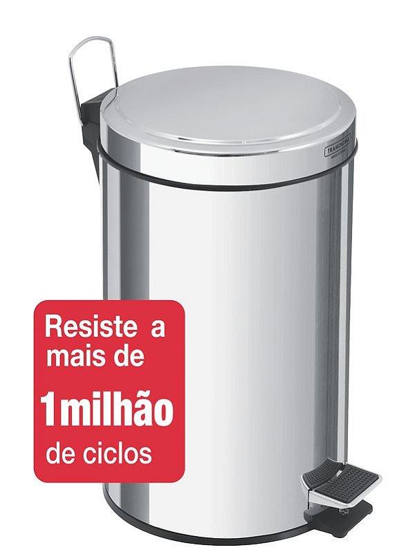 Lixeira Inox com Pedal Brasil 12 litros Tramontina