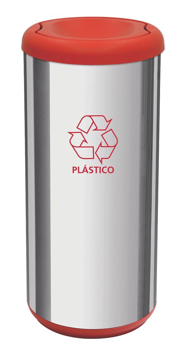 Lixeira Inox Capsula Selecta Plus Basculante Vermelho 40 litros Tramontina