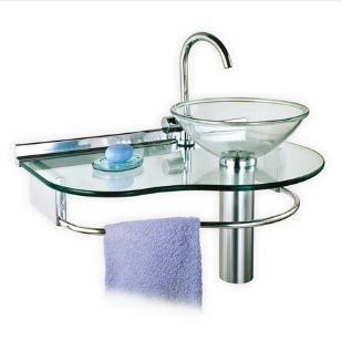 Lavabo Cris-Glass 70cm Água Marinha Ref.977 Cris-Metal
