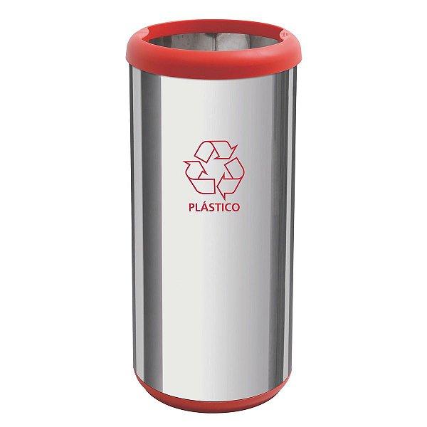 Lixeira Inox Selecta Base Vermelha 40 litros 94539/222 Tramontina