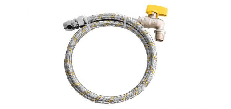 Kit para Instalação de Gás Flexivel 1,2m 1/2'' x 3/8'' + Registro 1/2'' 180302 Blukit