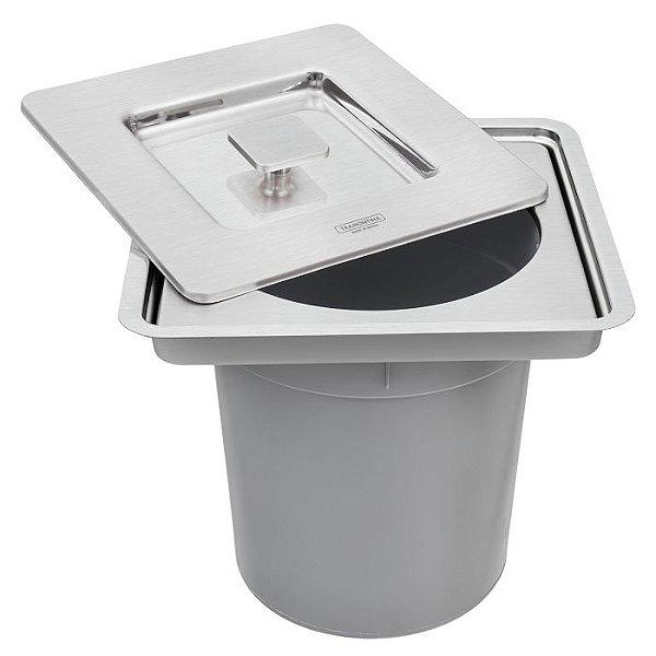 Lixeira de Embutir Clean Square em Aço Inox com Balde Plástico 5 L 94518/205 Tramontina