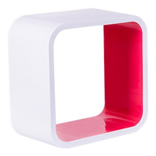 Nicho Quadrado Plástico 31cm Branco e Rosa Astra