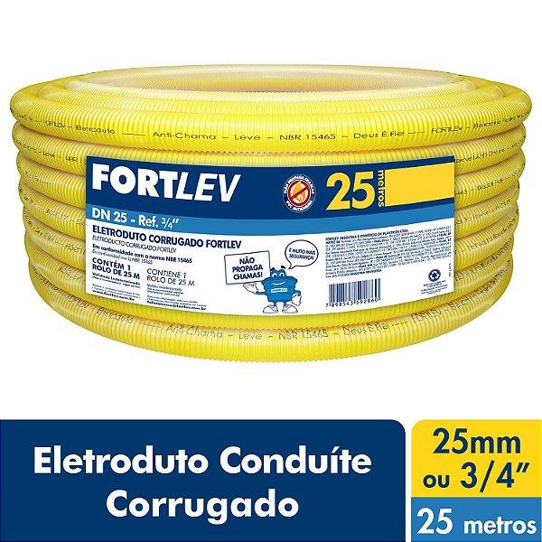 Eletroduto Corrugado Flexível Amarelo 25mm x 25m Fortlev
