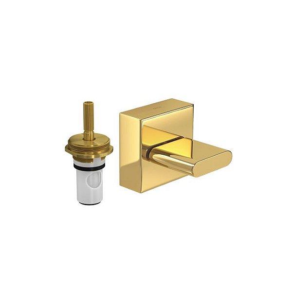 """Acabamento para Registro de Pressão 1/2"""" a 1"""" Polo com Mecanismo 1/2 Volta 4916.GL33.PQ Gold Deca"""