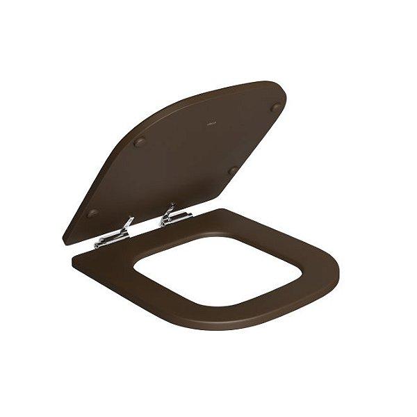 Assento Poliéster Slow Close com Protekto Piano AP.337.22 Marrom Fosco/Cromado Deca