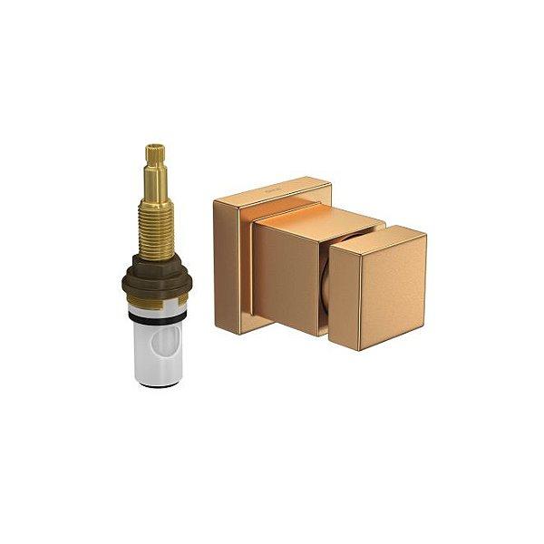 """Acabamento para Registro de Pressão 1/2"""" a 1"""" Cubo com Mecanismo 1/2 Volta 4916.GL86.PQ.MT Gold Matte Deca"""