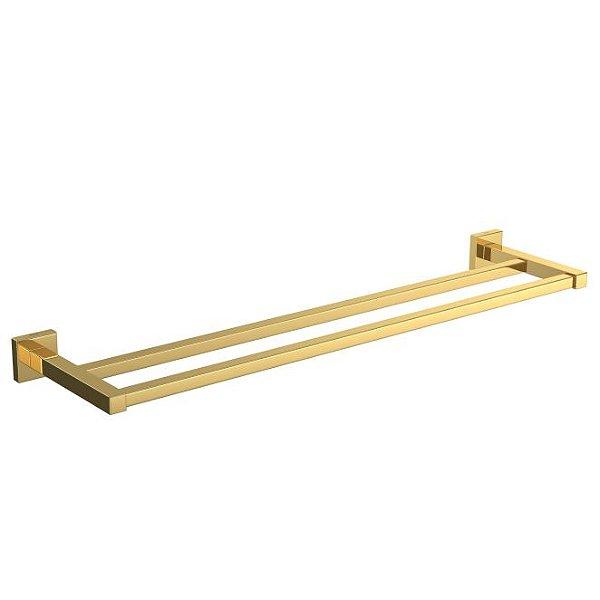 Porta Toalha Duplo Quadratta 2042.GL83 Gold Deca