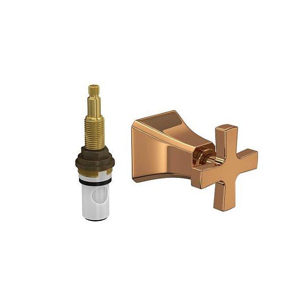 """Acabamento para Registro de Pressão 1/2"""" e 3/4"""" com Mecanismo 1/2 Volta 4916.GL.WSH.PQ.RD Red Gold Deca"""