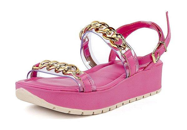 Sandália Flatform Vinil Correntes Napa Flamingo Pink