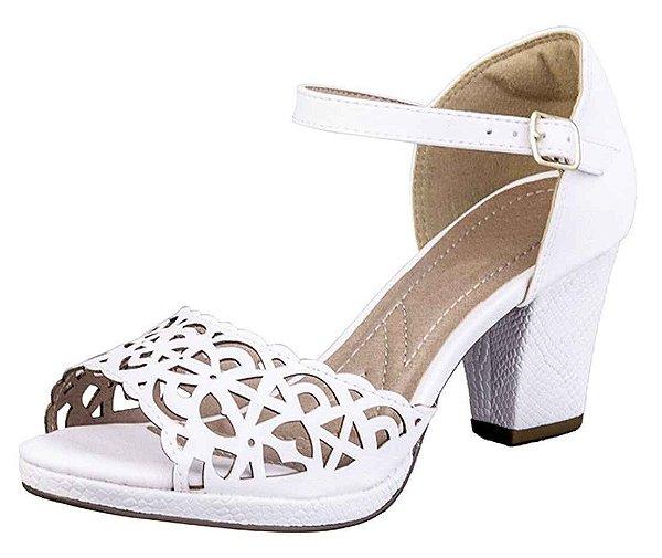 Sandalia Salto Branco