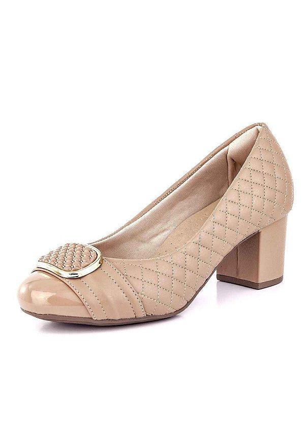 42d00a45a3 Sapato Salto Grosso Matelasse Courino Nude - Bendito Conforto ...