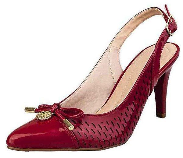 Sapato Channel Salto E Bico Fino Lacinho Verniz Vermelho