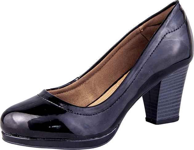 Sapato Scarpin Bico Redondo Verniz Preto