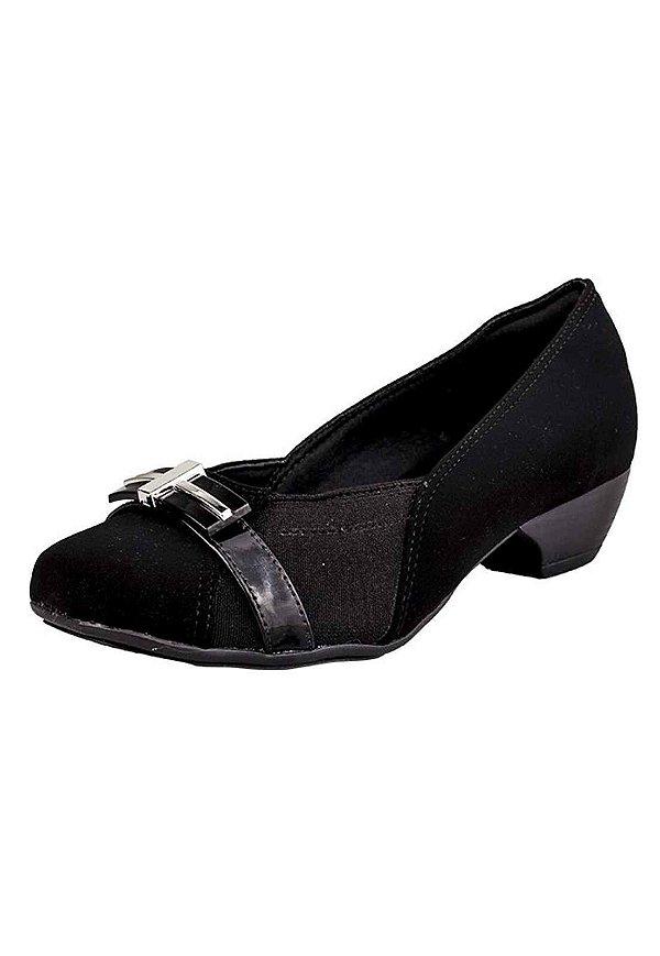 7b4980cab0 Sapato Salto Baixo Cruz Dourada Nobuck Preto - Bendito Conforto ...