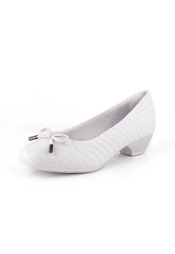 f08afa3abb Sapato Salto Baixo New Pele Branco - Bendito Conforto