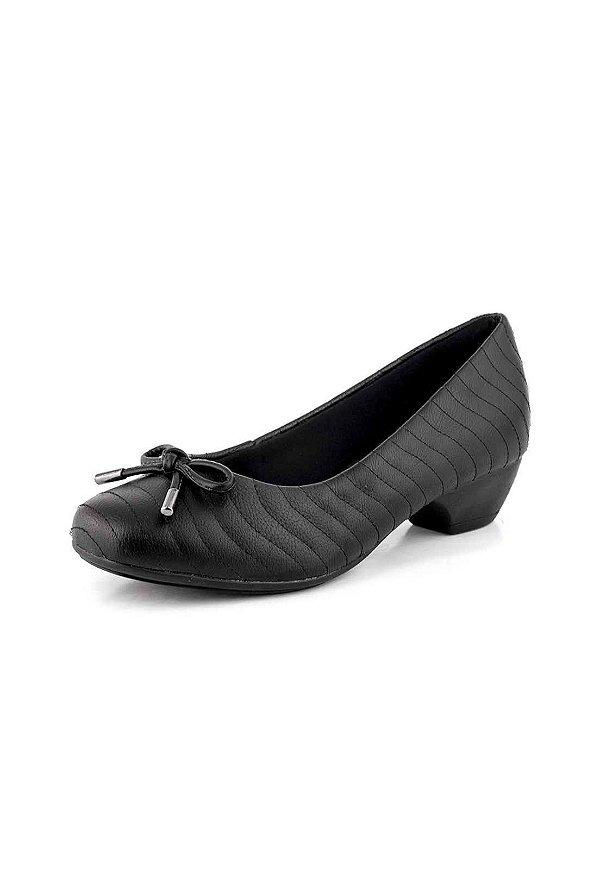 f0d78ef842 Sapato Salto Baixo New Pele Preto - Bendito Conforto