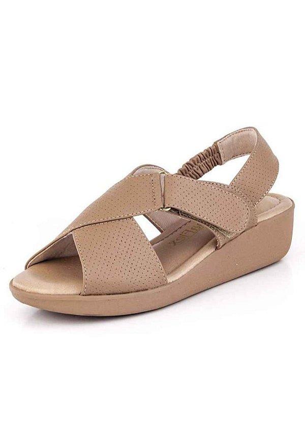 Sandalia Conforto Com Velcro New Pele Antique