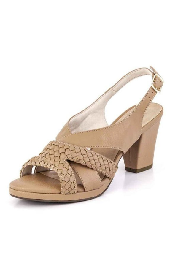 Sandalia Salto Tranças New Pele Antique