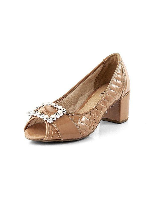 Sapato Pep Toe Salto Forrado Verniz Terracota