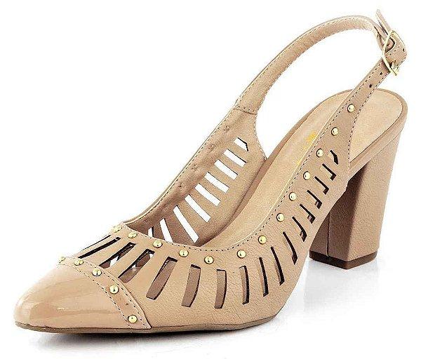 Sapato Channel Bico Fino Verniz Antique